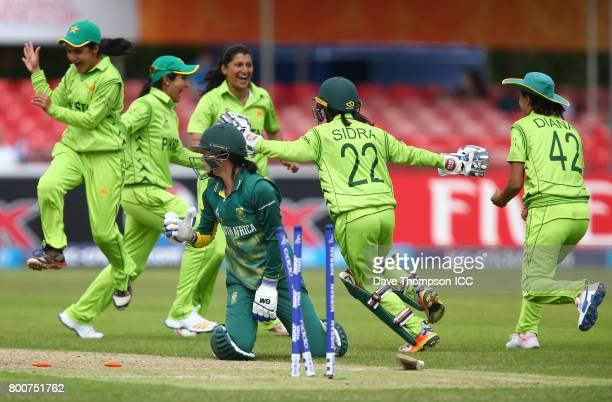 Pakistan players celebrate running out Marizanne Kapp of South Africa during the ICC Women's World Cup match between Pakistan and South Africa at...
