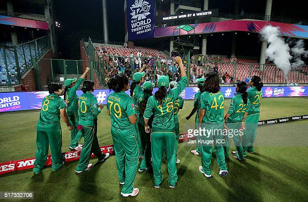 Pakistan players celebrate with fans during the Women's ICC World Twenty20 India 2016 match between Pakistan and Bangladesh at Feroz Shah Kotla...