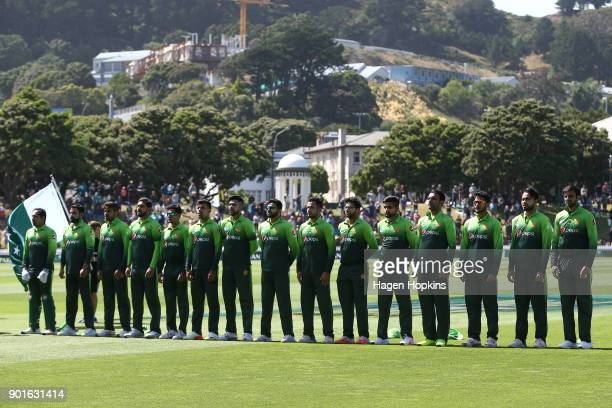 Pakistan players line up for the national anthems during game one of the One Day International Series between the New Zealand Black Caps and Pakistan...