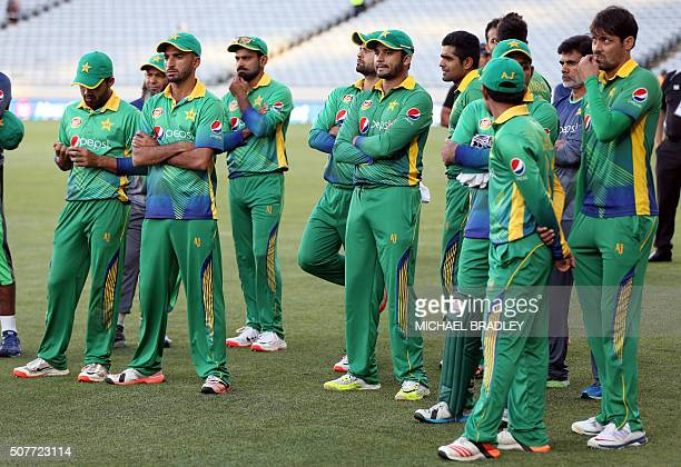 Pakistan players look dejected after losing the series 20 after the third oneday international cricket match between New Zealand and Pakistan at Eden...