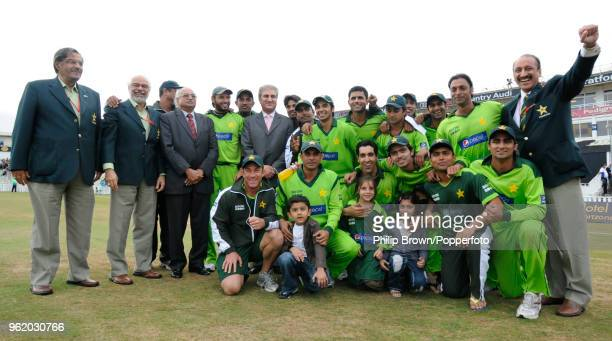 Pakistan players management and dignitaries celebrate after Pakistan won both Twenty20 Internationals against Australia at Edgbaston Birmingham 6th...