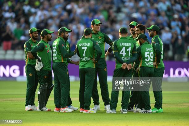 Pakistan players on the field of play together during the third one day international cricket match between England and Pakistan at Edgbaston cricket...