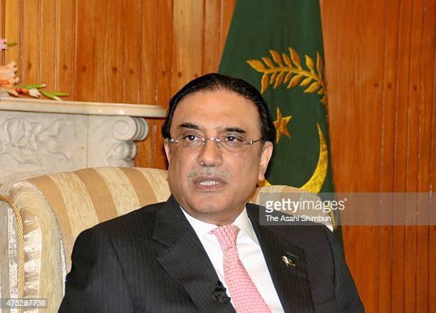 Pakistan President Asif Ali Zardari speaks during a group interview with Japanese media on Febraury 19, 2011 in Islamabad, Pakistan.