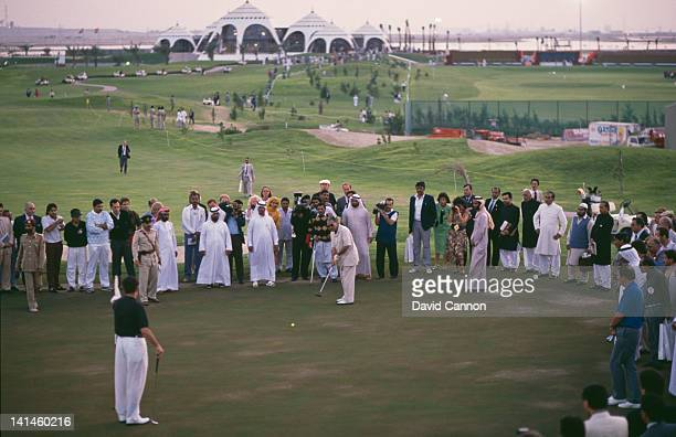Pakistan President, General Zia Ul-Haq playing golf to mark the opening of the Emirates Golf Club, the first green grass golf course in the Middle...