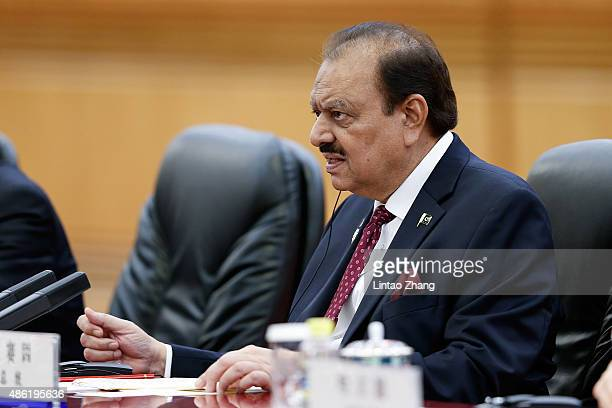 Pakistan President Mamnoon Hussain meets with Chinese President Xi Jinping at The Great Hall Of The People on September 2 2015 in Beijing China...
