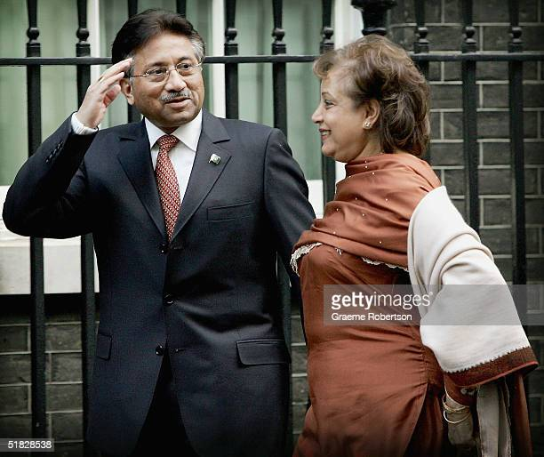 Pakistan President Pervez Musharraf and his wife Sehba arrive in Downing Street to meet wife Prime Minister Tony Blair on December 6 London England...