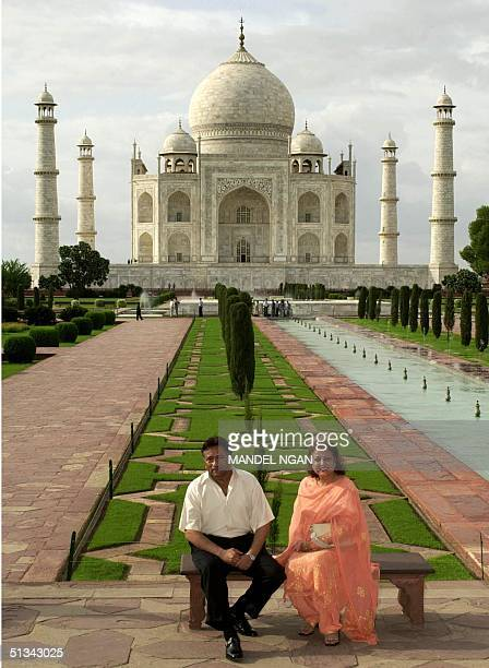 Pakistan President Pervez Musharraf and his wife Sehba pose for a photo infront of the 17the century Taj Mahal 15 July 2001 in Agra Musharraf is in...