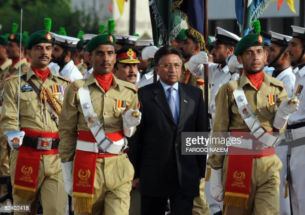 Pakistan President Pervez Musharraf inspects the honour of guard during the farewell ceremony at the presidency in Islamabad on August 18 2008...