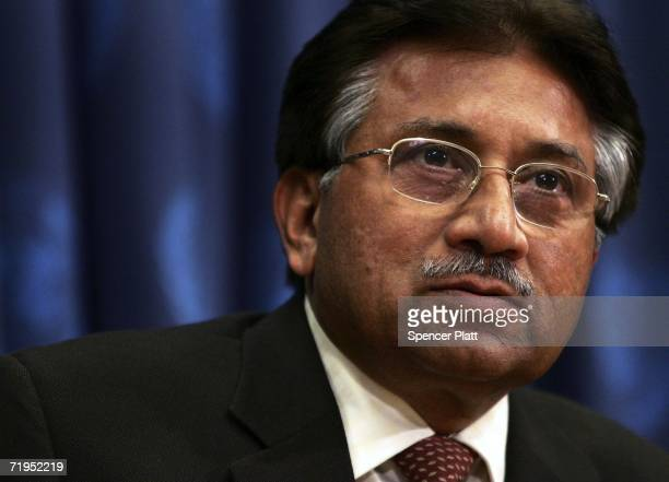 Pakistan President Pervez Musharraf speaks during a news conference while attending the United Nations General Assembly on September 20 2006 at the...