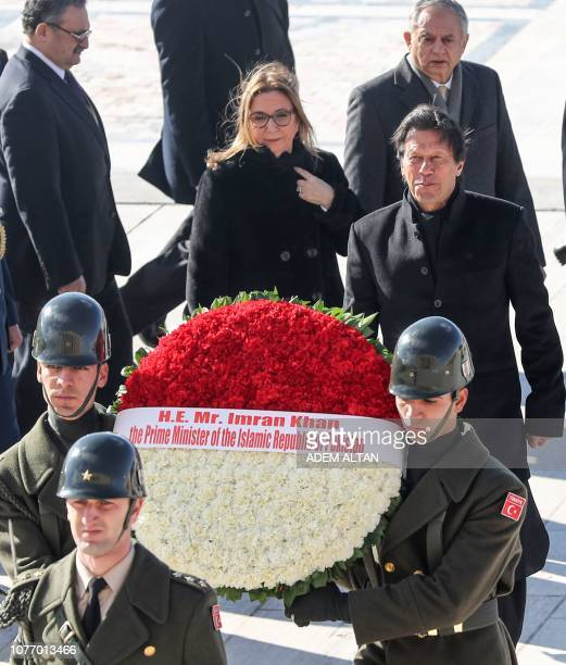 Pakistan Prime Minister Imran Khan arrives for a wreath laying ceremony in Anitkabir the mausoleum of Turkish Republic's founder Mustafa Kemal...