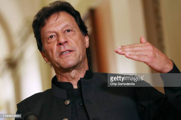 Pakistan Prime Minister Imran Khan makes a brief statement to reporters before a meeting with U.S. House Speaker Nancy Pelosi at the U.S. Capitol...