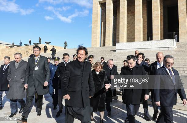 Pakistan Prime Minister Imran Khan visits Anitkabir, the mausoleum of Turkish Republic's founder Mustafa Kemal Ataturk, as part of an official state...