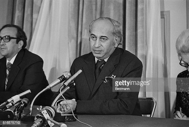 Pakistan Prime Minister Zufikar Ali Bhutto answers newsmen's questions during a press conference held here October 23rd during his visit to the...