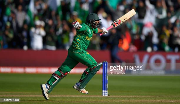 Pakistan Sarfraz Ahmed celebrates hitting the winning runs during the ICC Champions League match between Sri Lanka and Pakistan at SWALEC Stadium on...