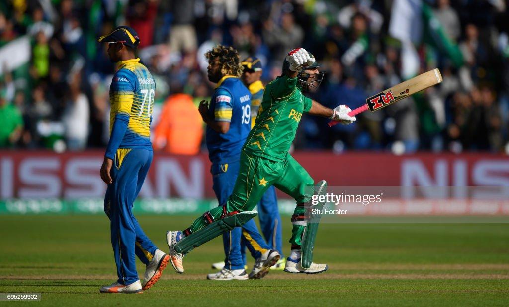 Pakistan Sarfraz Ahmed celebrates hitting the winning runs during the ICC Champions League match between Sri Lanka and Pakistan at SWALEC Stadium on June 12, 2017 in Cardiff, Wales.