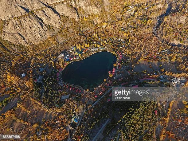 pakistan - shangrila, kachura lake aerial view - skardu stock pictures, royalty-free photos & images