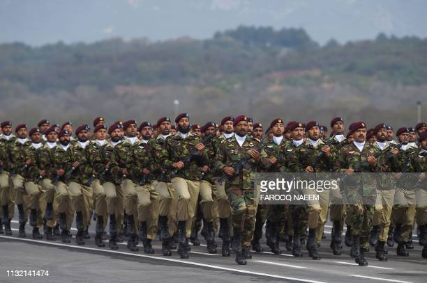 Pakistan Special Service Group commandos march during the Pakistan Day parade in Islamabad on March 23 2019 Pakistan National Day commemorates the...
