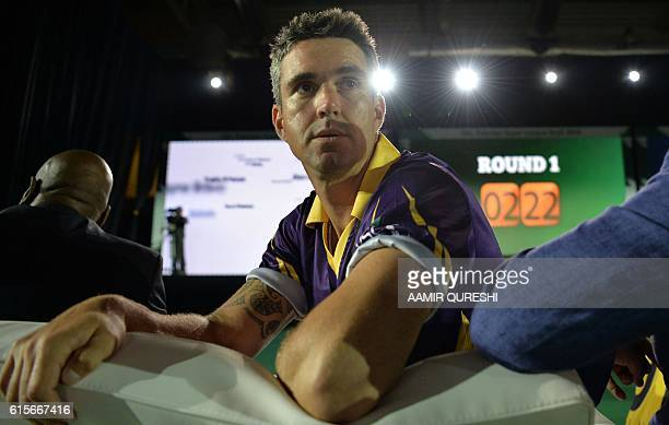 Pakistan Super League team Quetta Gladiators player Kevin Pietersen looks on during second edition of PSL draft in Dubai on October 19 2016...