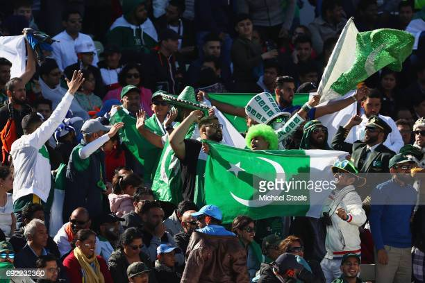 Pakistan supporters show their colours during the ICC Champions Trophy match between India and Pakistan at Edgbaston on June 4 2017 in Birmingham...