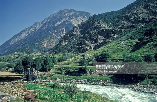 Pakistan Swat Valley Mountains Surround Running Water Creek