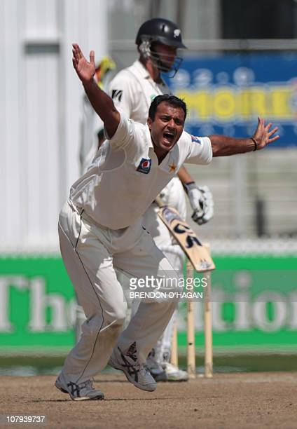 Pakistan Tanvir Ahmed unsuccessfully appeals for the wicket of New Zealand during their Test match at Seddon Park in Hamilton January 9 2011 Pakistan...