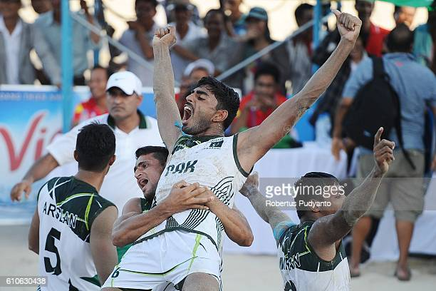Pakistan team celebrate victory after winning Beach Kabaddi Men's final match against India on day four of the 5th Asian Beach Games 2016 at Bien...