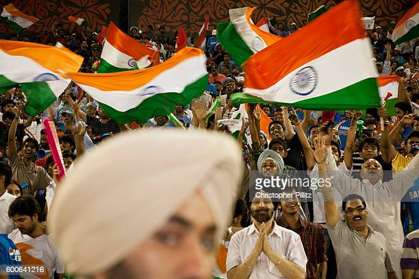 Pakistan vs India in the 2011 Cricket World Cup semi final match in Mohali India Fans celebrate this rare moment of two giants of the game