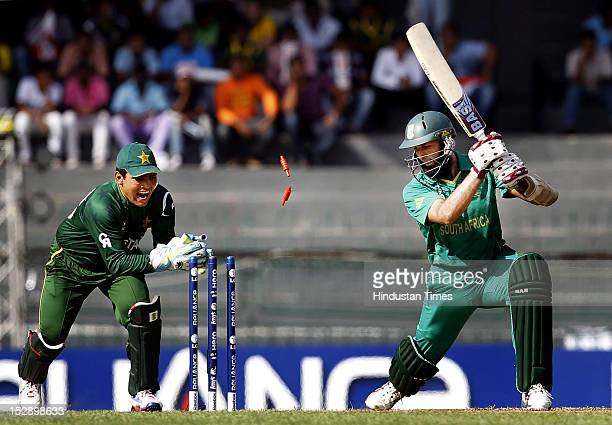 Pakistan wicket keeper Kamran Akmal appeals unsuccessfully as he stumps Hashim Amla of South Africa during the ICC T20 World Cup cricket match Super...