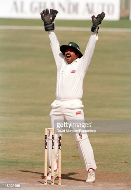 Pakistan wicketkeeper Javed Miandad in action during the Champions Trophy Tournament at the Sharjah Stadium in the United Arab Emirates circa October...