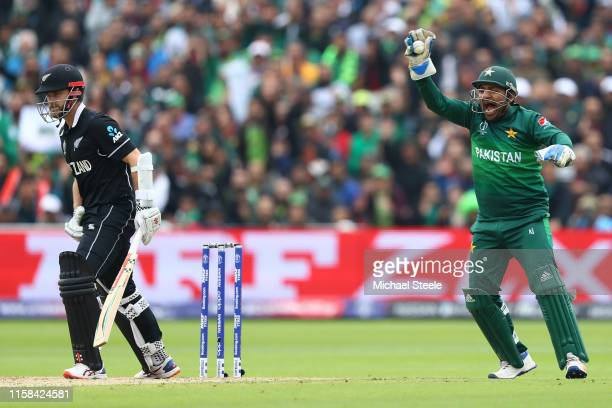 Pakistan wicketkeeper Sarfaraz Ahmed appeals succesfully after taking a catch to dismiss Kane Williamson of New Zealand off the bowling of Shadab...
