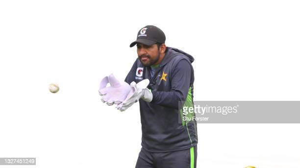 Pakistan wicketkeeper Sarfaraz Ahmed in fielding action during nets ahead of the 1st ODI between England and Pakistan at Sophia Gardens on July 07,...