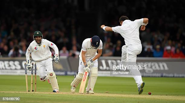 Pakistan wicketkeeper Sarfraz Ahmed looks on as England batsman Jonny Bairstow is bowled for 29 runs during day two of the 1st Investec Test match...