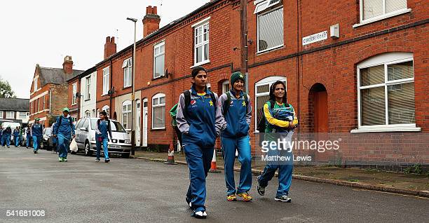 Pakistan women arrive ahead of the 1st Royal London ODI match between England Women and Pakistan Women at Grace Road on June 20 2016 in Leicester...