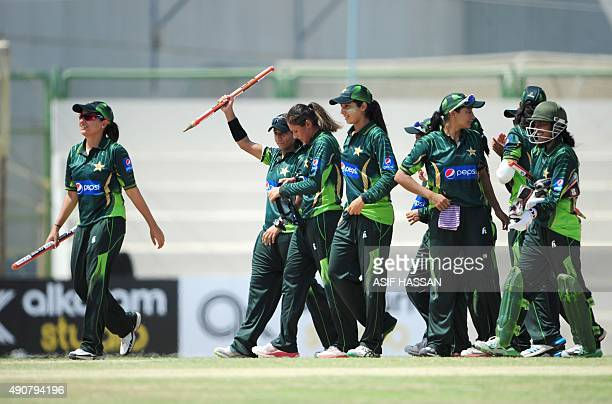 Pakistan women cricketers celebrate victory of the second and final T20 match between the Pakistan and Bangladesh women's cricket teams at The...