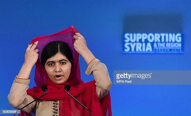 Pakistani activist for female education and Nobel Peace Prize laureate Malala Yousafzai addresses delegates during the fourth 'Thematic Pledging...