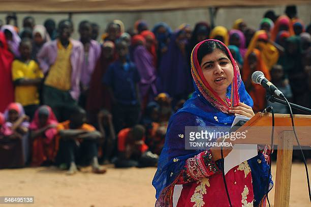 Pakistani activist for female education and the youngestever Nobel Prize laureate Malala Yousafzai delivers a speech to refugees at Kenya's sprawling...