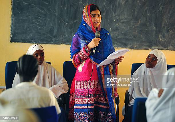 Pakistani activist for female education and the youngestever Nobel Prize laureate Malala Yousafzai addresses young refugees at Kenya's sprawling...