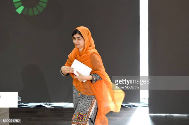 Pakistani activist Malala Yousafzai speaks speaks at Goalkeepers 2017 at Jazz at Lincoln Center on September 20 2017 in New York City Goalkeepers is...