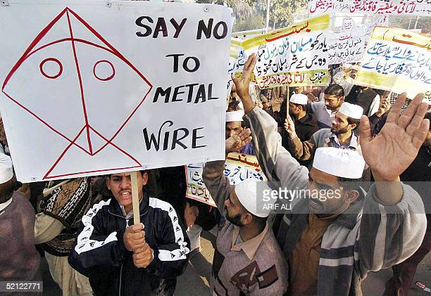 Pakistani activists from Lasani Inqlab an Islamic organisation shouts slogans during a demonstration in Lahore 02 February 2005 protesting the...