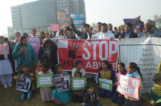 Pakistani Activists of Cecil Chaudhry and Iris Foundation holding placards chant slogans to protest the rape and murder of seven year old Zainab...