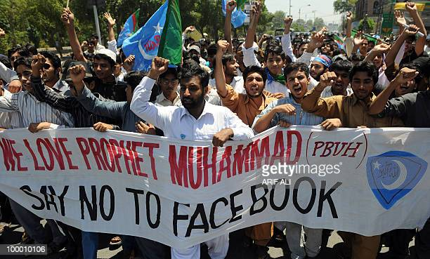 Pakistani activists of Islami JamiateTulaba a student wing of hardline party JamaatiIslami shout slogans during a protest in Lahore on May 20 against...