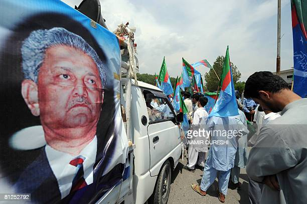 Pakistani activists of Jamiat Tulba Islam a student wing of fundamentalist Islamic party of JamaatiIslami march during a protest near the residence...