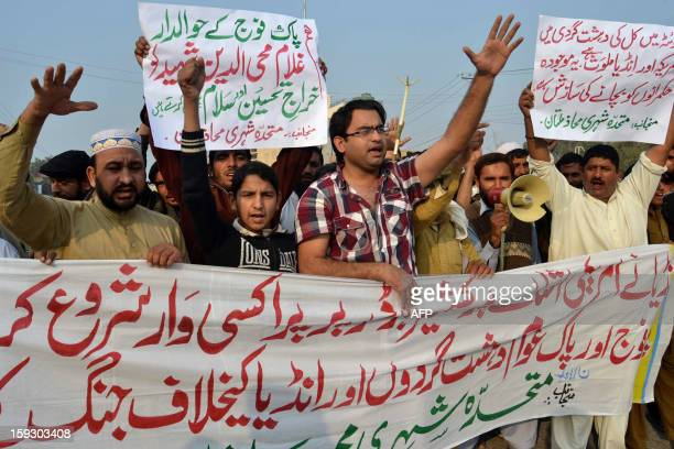 Pakistani activists of Muttahid Shehri Mahaz shout antiIndian slogans at a protest rally in Multan on January 11 against the killing of two Pakistani...