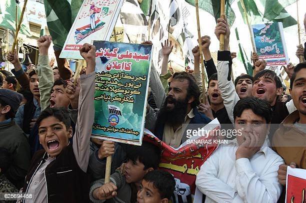 Pakistani activists of the hardline organisation JamaatudDawa shout antiIndian slogans during a protest in Quetta on November 25 against the cross...