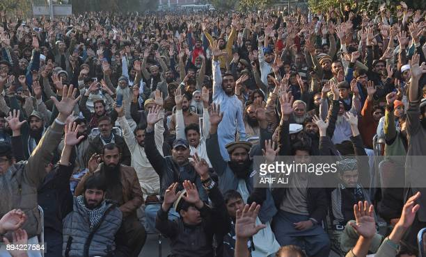 Pakistani activists shout antiUS and Israel slogans in a rally in Lahore on December 17 following US President Donald Trump's decision to officially...