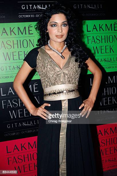Pakistani actress Meera at day five of the Lakme Fashion Week at NCPA on October 24 2008 in Bombay India