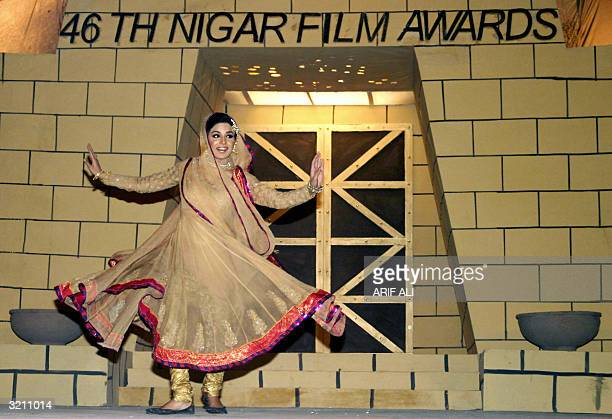 Pakistani actress Meera dances during the 46th Nigar Public Film Awards ceremony in Lahore early 03 April 2004 Wellknown Pakistani actress Meera has...