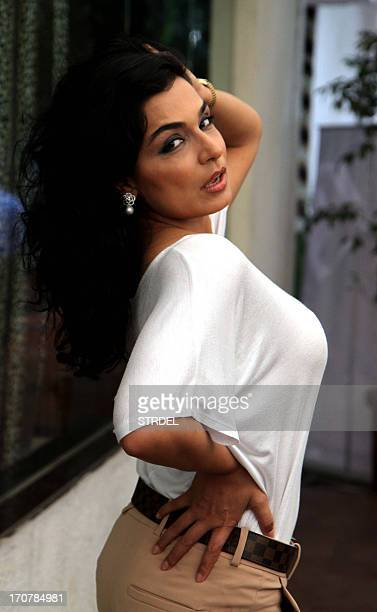 Pakistani actress Meera poses during a promotion ceremony for the forthcoming Hindi thriller film 'Bhadaas' in Mumbai on June 17 2013 AFP PHOTO/STR