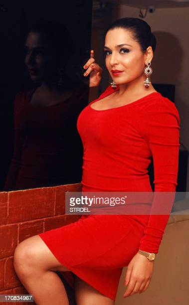 Pakistani actress Meera poses during the promotion of the upcoming Hindi thriller film Bhadaas in Mumbai on June 18 2013 AFP PHOTO/ STR