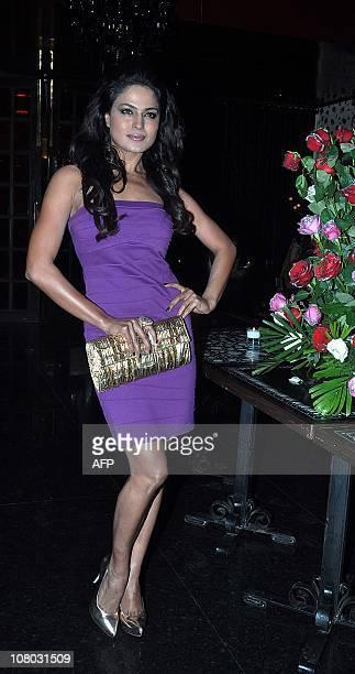 Pakistani actress Veena Malik attends Indian Bollywood actor Ashmit Patel's birthday party in Mumbai on January 13 2011 AFP PHOTO/STR